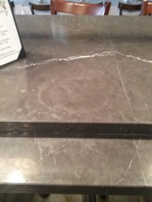 Marble counter etched